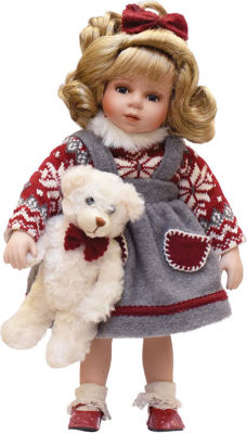 "14.5"" Porcelain ""Eileen"" with Teddy Bear Standing Collectible Christmas Doll"
