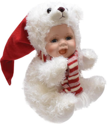 """8.5"""" Porcelain Baby in Polar Bear Costume with Santa Hat Collectible Christmas Doll"""