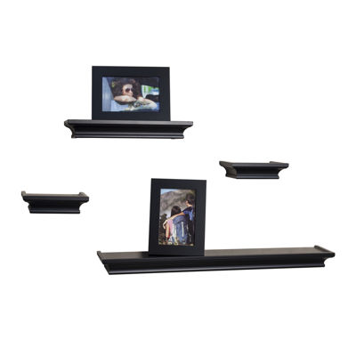 Danya B. Set of 4 Cornice Ledge Shelves with 2 Photo Frames