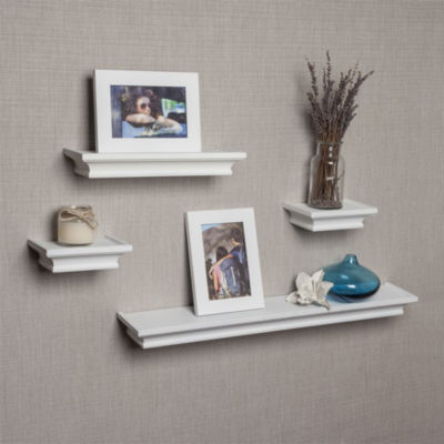 Danya B. Set of 4 Cornice Ledge Shelves with 2 Photo Frames