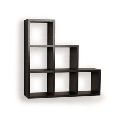 Danya B. Stepped Six Cubby Decorative Black Wall Shelf