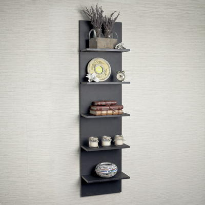 Danya B. Black Grain Finish Wide Column Wall Shelf