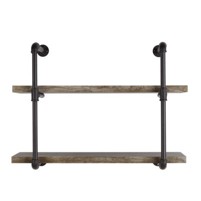 Danya B. Two Tier Industrial Pipe Wall Shelf