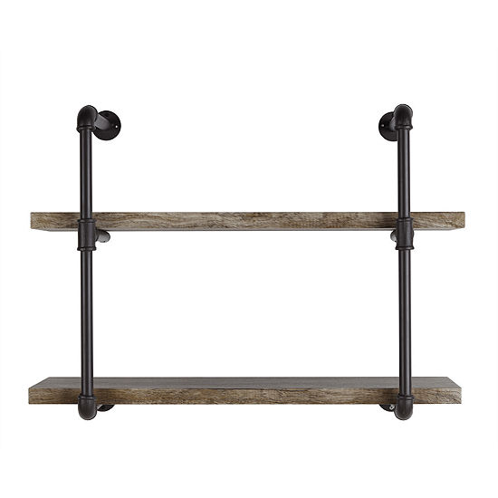 Danya B. Two Tier Industrial Pipe Wall Shelf