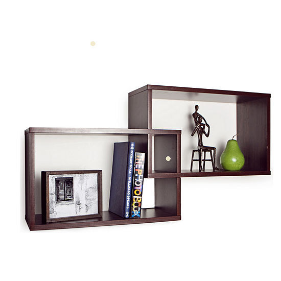 Danya B. Intersecting Walnut Rectangular Shelves (Set of 2)