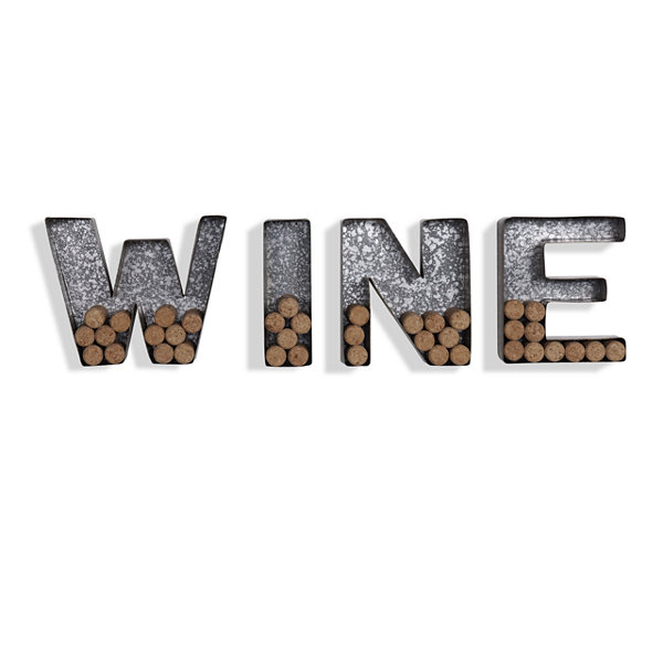 "Danya B. Wall Mount ""WINE"" Letter Set Cork Holder- Galvanized Sheet Metal"""