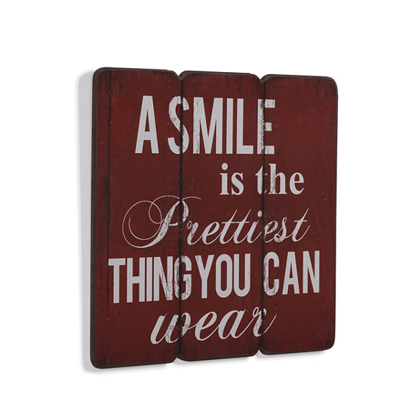 "Danya B. ""A Smile is the Prettiest Thing you can Wear"" Wooden Wall Art"""