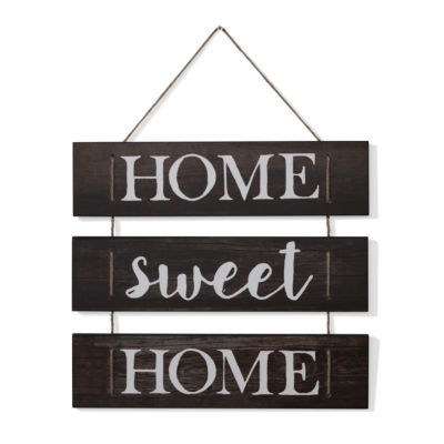 """Danya B. """"Home Sweet Home"""" Wooden Wall Hanging with Rope"""""""