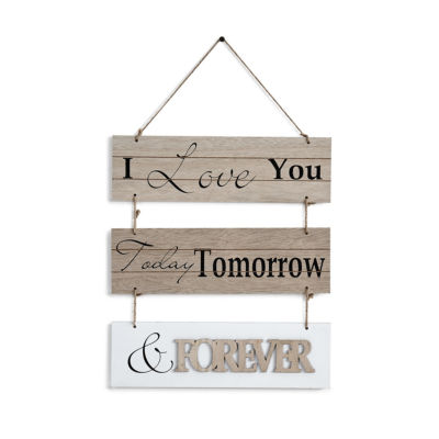 "Danya B. ""I Love You Today Tomorrow & Forever""Sectioned Wooden Wall Plaque"