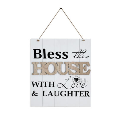 """Danya B. """"Bless This House With Love & Laughter"""" Wooden Wall Plaque """""""