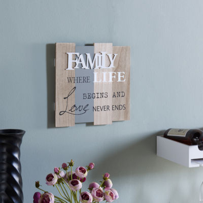 "Danya B. ""Family - Where Life Begins and Love Never Ends"" Wooden Wall  Plaque"""