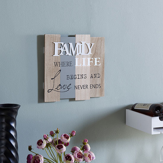 "Danya B. ""Family - Where Life Begins and Love Never Ends"" Wooden Wall  Plaque"