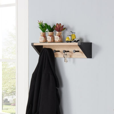 Danya B. Weathered Oak and Black Hanging Rack withTop Shelf