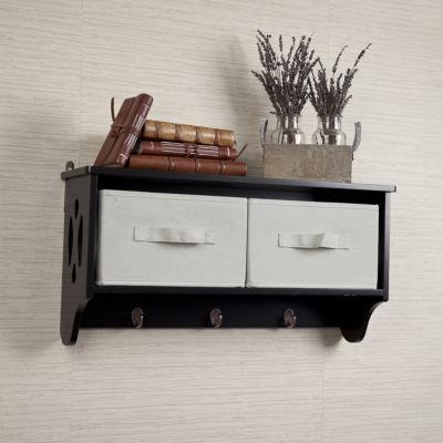 Danya B. Entryway Storage Wall Shelf with Canvas Bins and Hooks