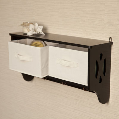 Danya B. Entryway Storage Wall Shelf with Canvas Bins and Hooks