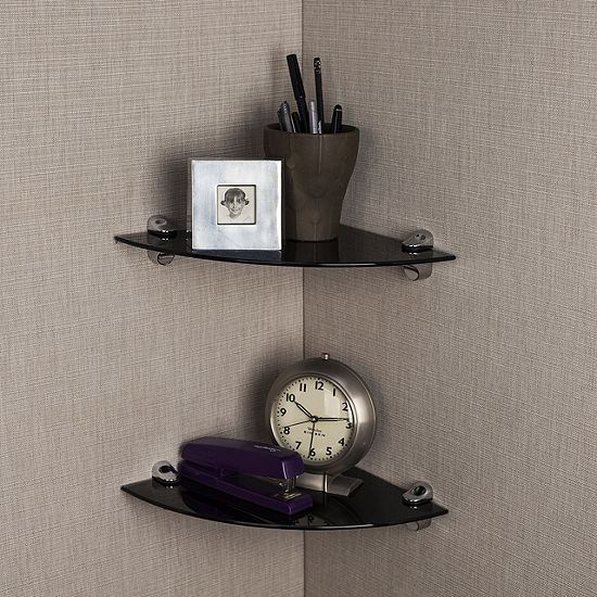 """Set of 2 Glass Radial Floating Shelves with Chrome Brackets 10 x 10"""""""
