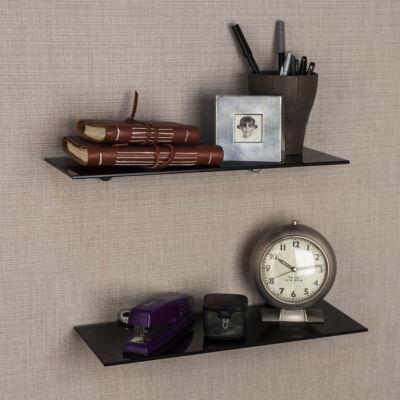 "Set of 2 Black Smoke Glass Floating Shelves with Chrome Brackets 16 x 6"""