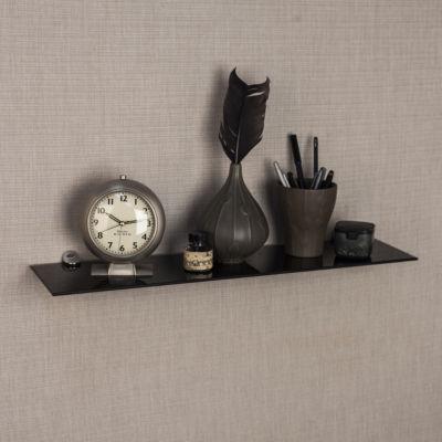"""Black Smoke Glass Floating Shelf with Chrome Brackets 24 x 6"""""""