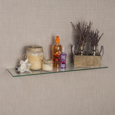 Clear Glass Floating Shelf with Chrome Brackets 24 x 6""
