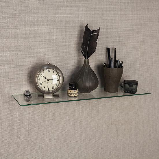 """Clear Glass Floating Shelf with Chrome Brackets 24 x 6"""""""