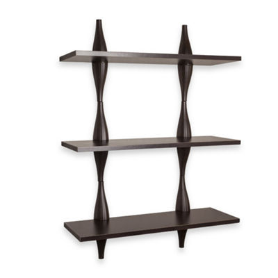 Danya B. Three Level Shelving System with Decorative Undulating Brackets - Walnut