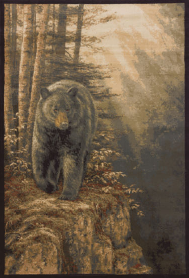 United Weavers WildWings License Designs Genesis Rosemary Millette Rocky Black Bear Rectangular Rug