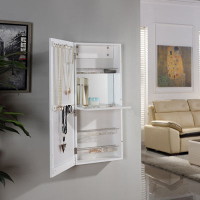 Danya B. White Over the Door Jewelry and Makeup Cabinet Mirror with Interior Mirror and Drop Down Shelf