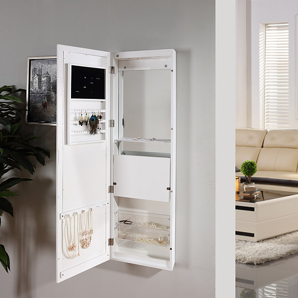 Danya B. White Over The Door Jewelry And Makeup Full Size Cabinet Mirror  With Interior