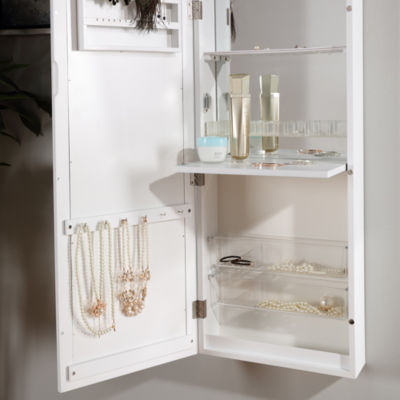 Danya B. White Over the Door Jewelry and Makeup Full Size Cabinet Mirror with Interior Mirror and Drop Down Shelf