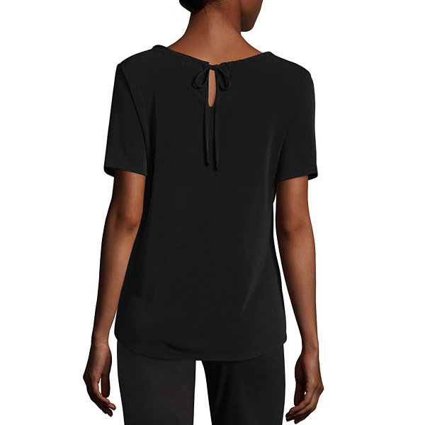 Worthington Short Sleeve Keyhole Neck T-Shirt-Womens