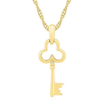 Womens 10K Gold Keys Pendant Necklace