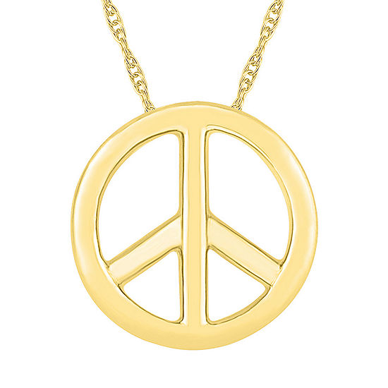 Womens 10k Gold Round Pendant Necklace