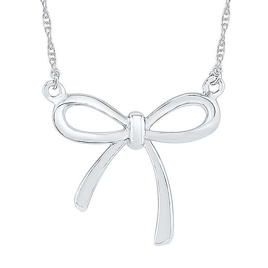 Womens 10K White Gold Bow Pendant Necklace