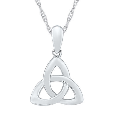 Womens 10K White Gold Knot Pendant Necklace