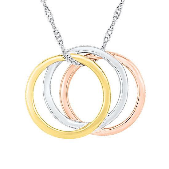 Womens 10K Tri-Color Gold Round Pendant Necklace