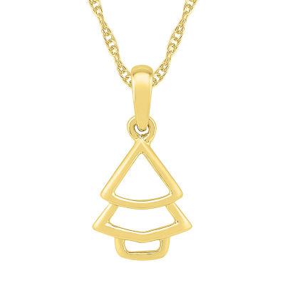 Womens 10K Gold Flower Pendant Necklace