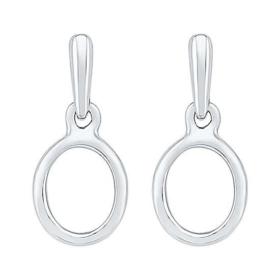 10K White Gold 17.8mm Oval Stud Earrings