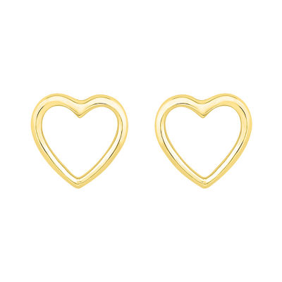 10K Gold 8.1mm Heart Stud Earrings