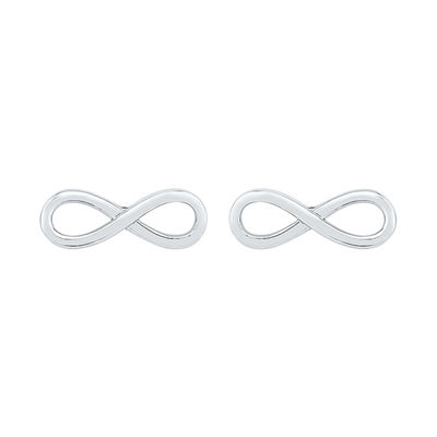10K White Gold 4.3mm Infinity Stud Earrings