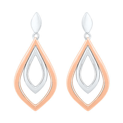 10K Two Tone Gold 23.7mm Pear Stud Earrings