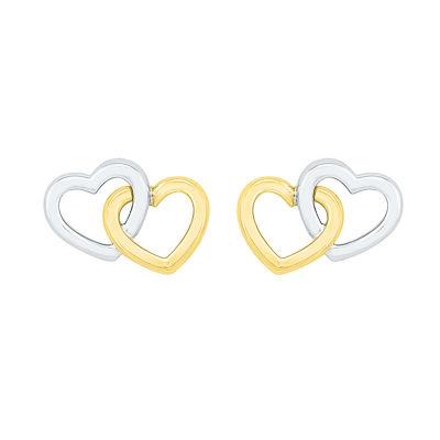 10K Two Tone Gold 8.4mm Heart Stud Earrings