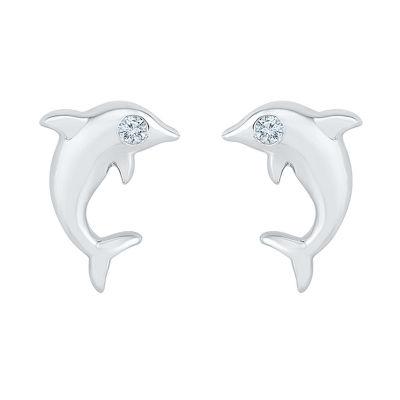 10K White Gold 10.6mm Stud Earrings