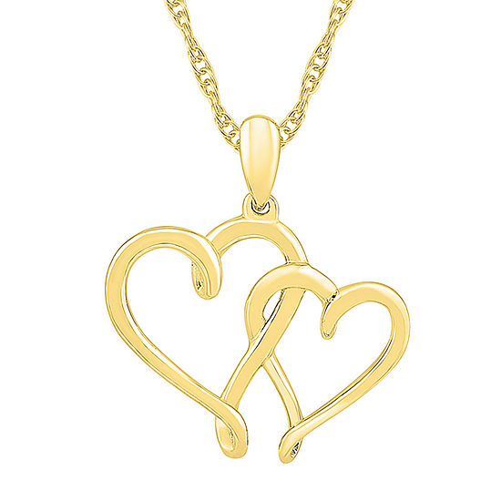 Womens 10K Gold Heart Pendant Necklace