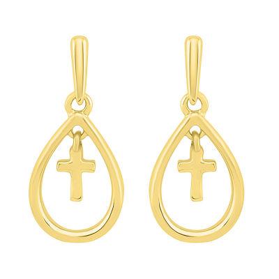 10K Gold 17.1mm Pear Stud Earrings