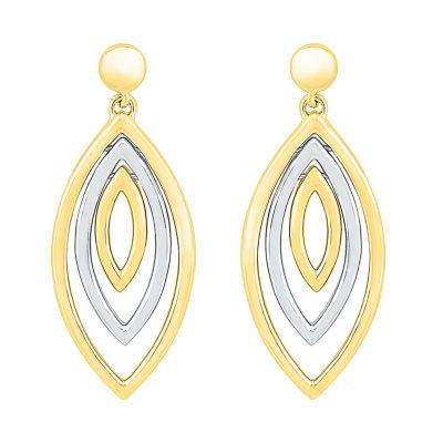 10K Two Tone Gold 28.4mm Oval Stud Earrings