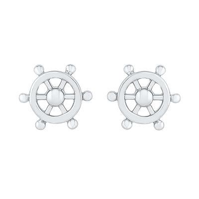 10K White Gold 9.3mm Round Stud Earrings