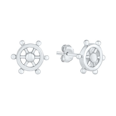 10K White Gold 9.3mm Round Stud Earrings
