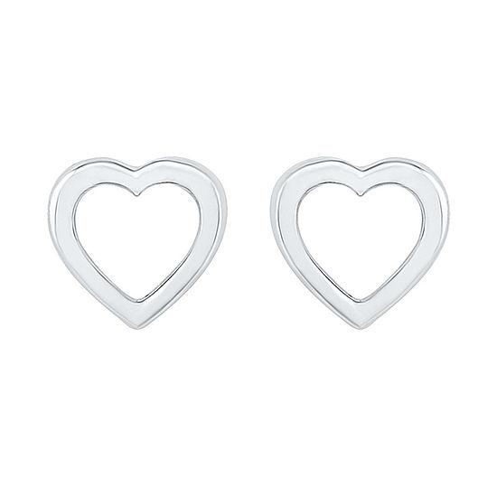 10K White Gold 5.8mm Heart Stud Earrings