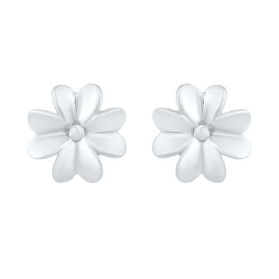 10K White Gold 8.4mm Flower Stud Earrings