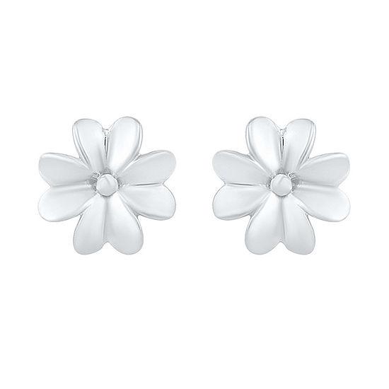 10K White Gold 8.4mm Flower Stud Earrings